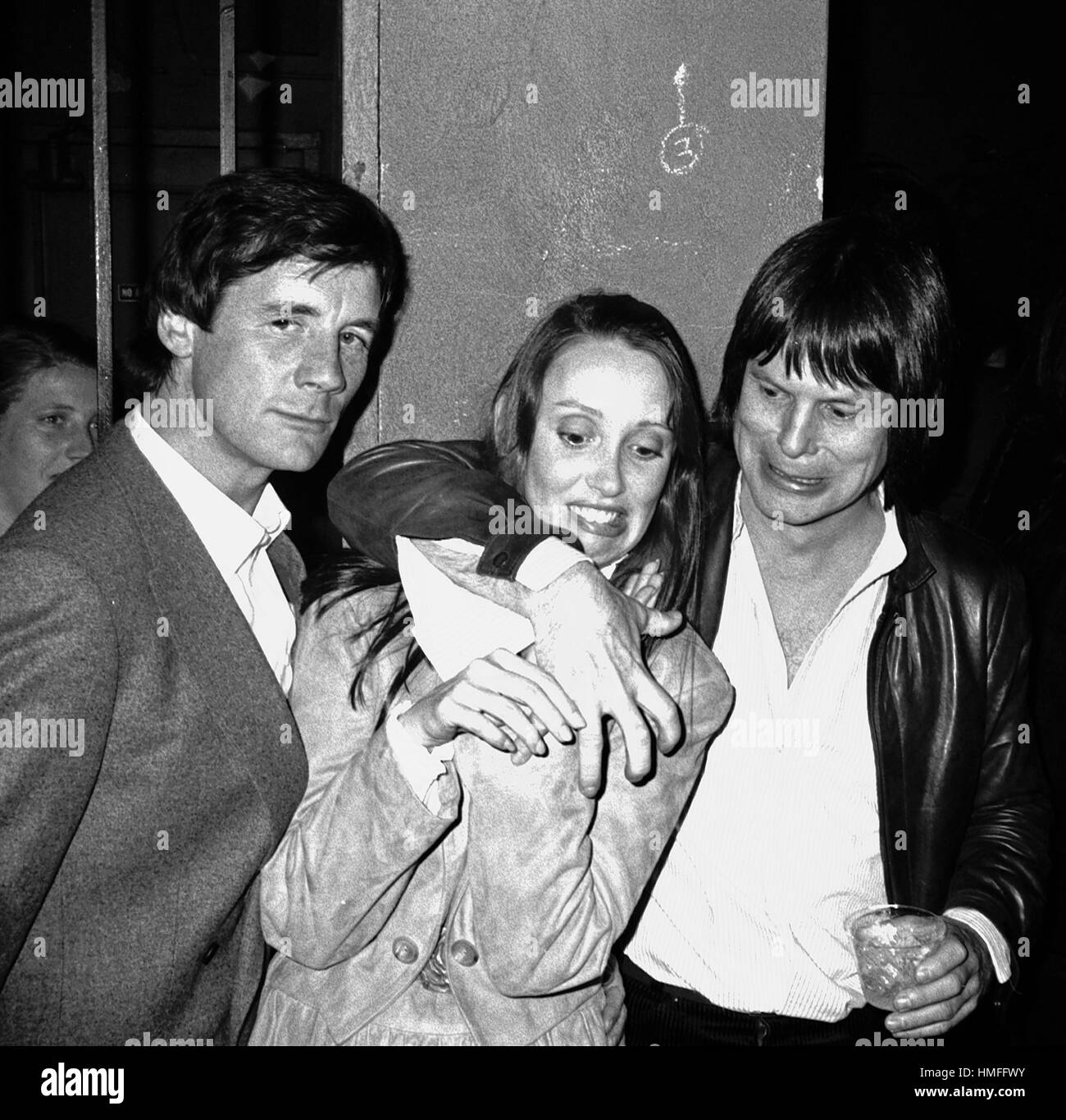 Shelley Duvall with Michael Palin & Terry Gilliam Attending a party celebrating the release of TIME BANDITS - Stock Image