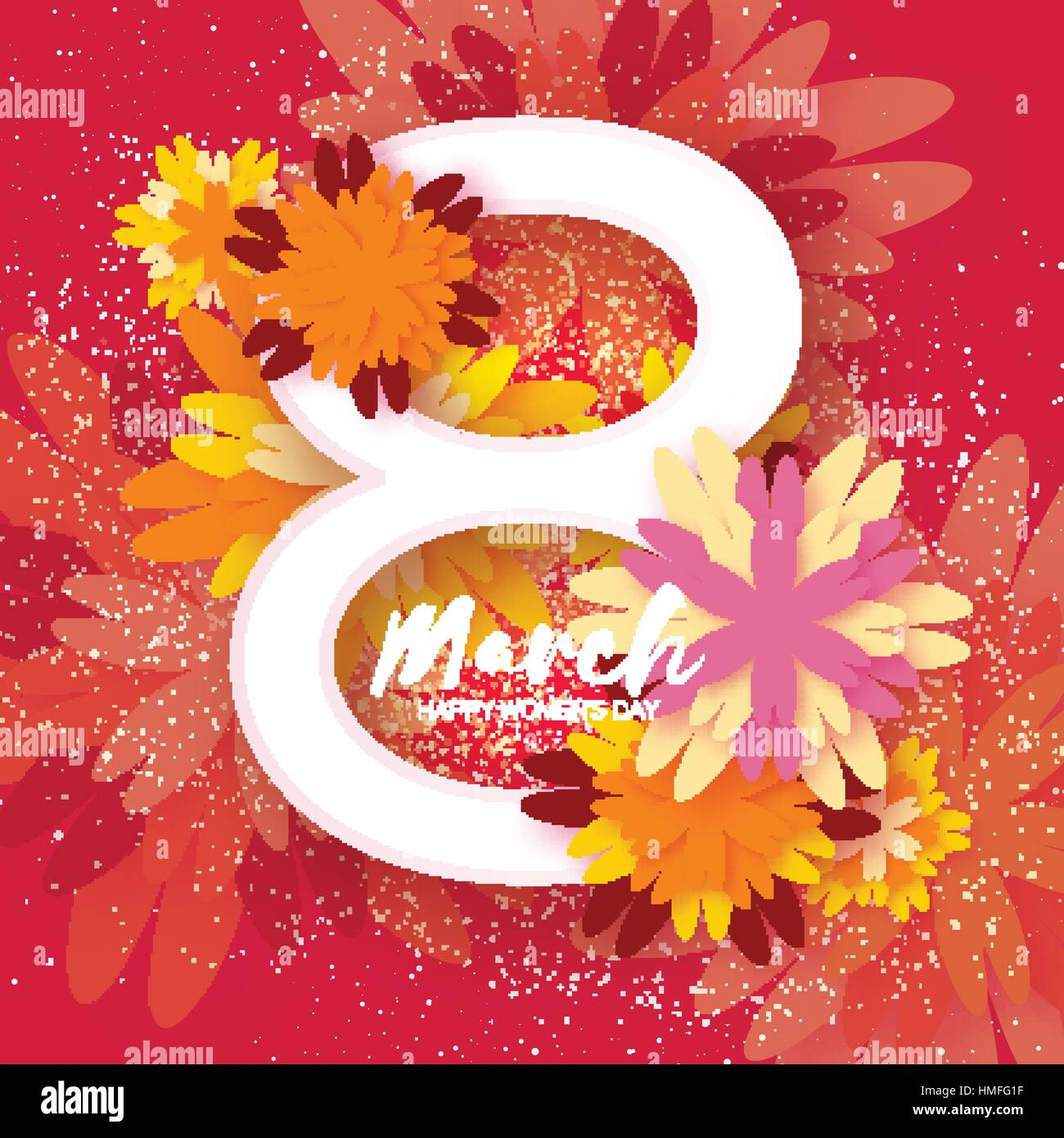 8 March Floral Greeting Card International Happy Womens Day Stock