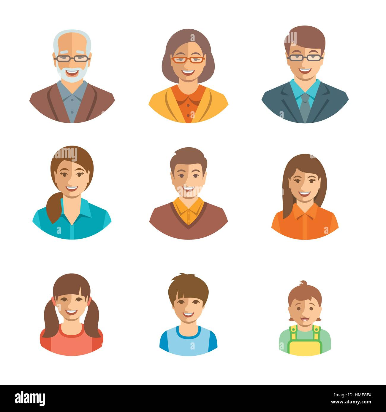 family members happy faces vector flat avatars people generation rh alamy com victor facebook vector facts