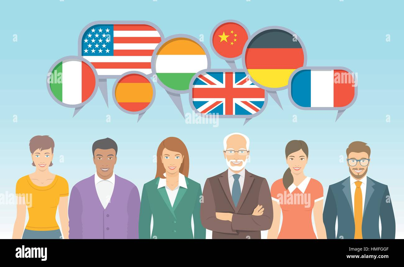 Foreign language school for adults. Group of different men and women with speech bubbles, flags of different countries. - Stock Vector