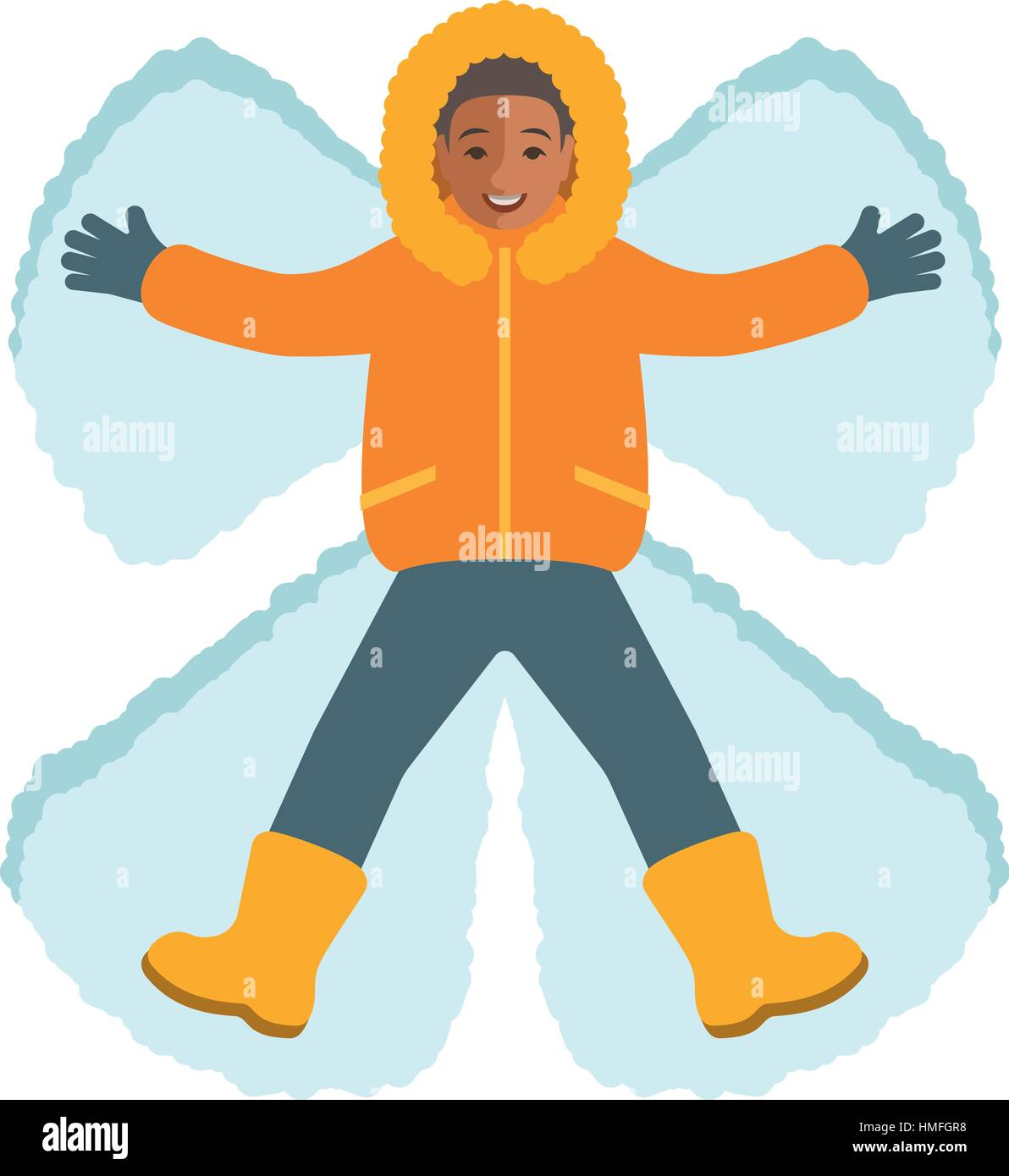 African Boy In Winter Clothes Making A Snow Angel Top View Kids Activities Child Playing Outdoor Game On Christmas Holidays Lying Cartoon C