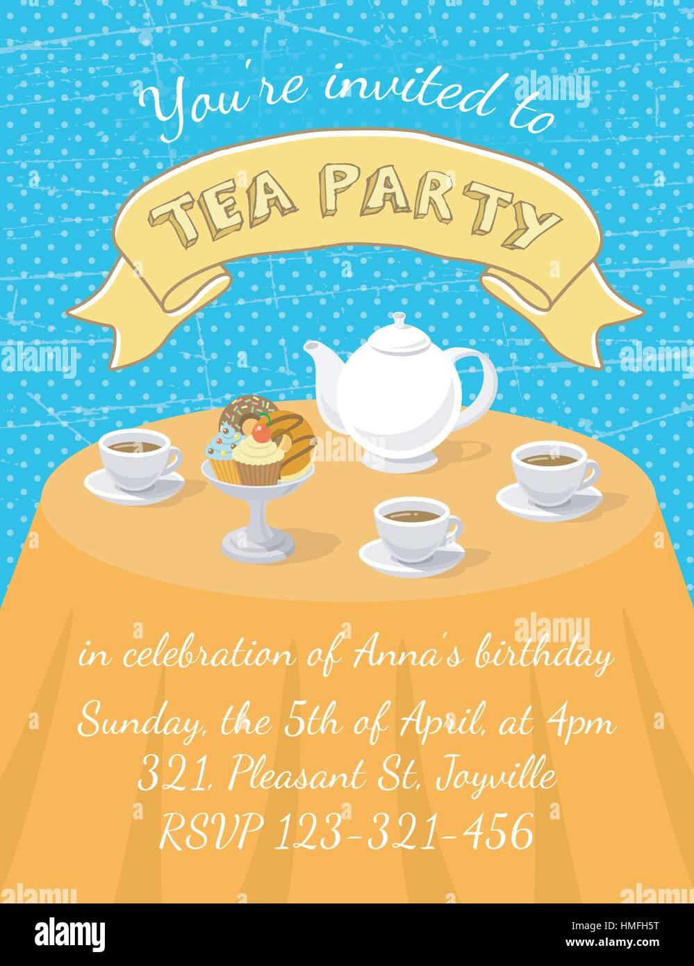 Modern Flat Vector Tea Party Invitation Card With Tea Cups Teapot