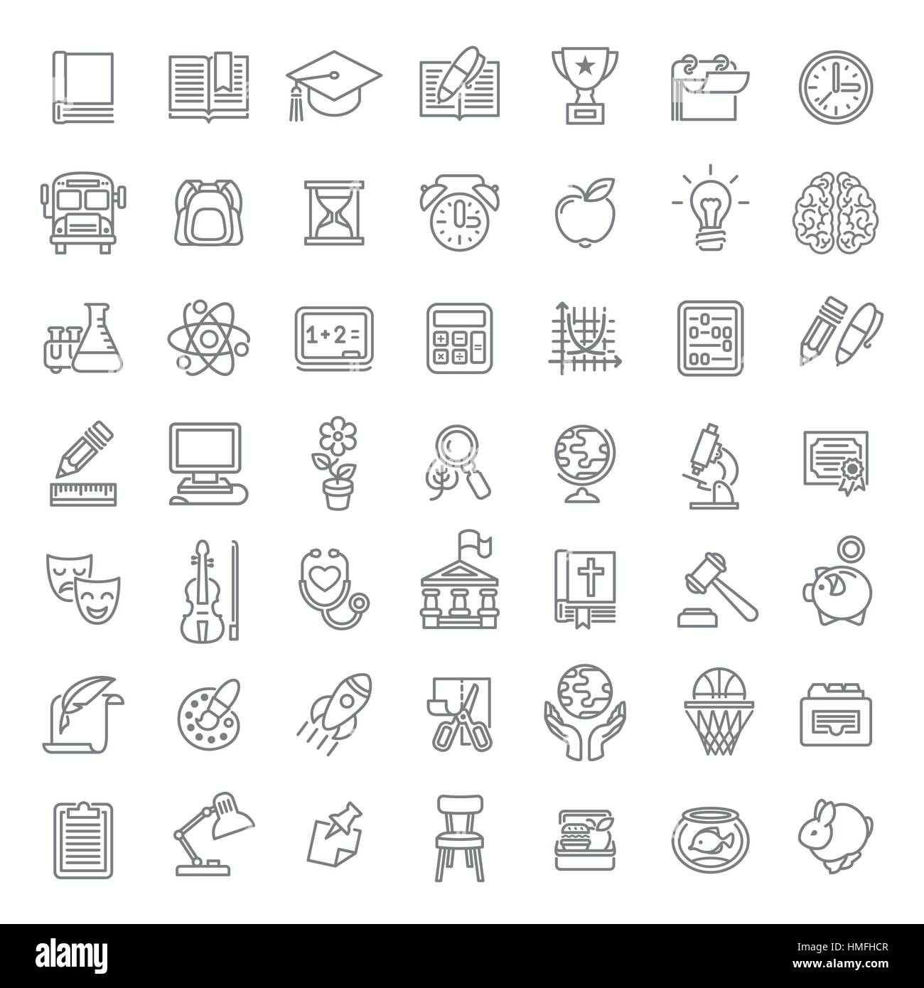 Set of modern flat line art vector icons of school subjects, activities, education and science symbols on white. - Stock Vector