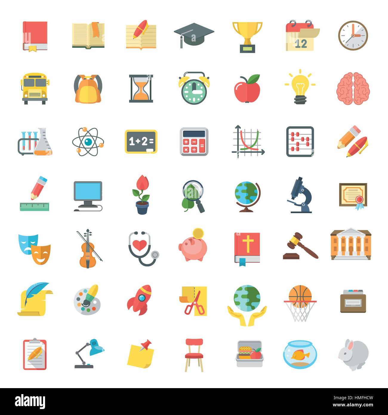 Set of modern flat vector icons of school subjects, activities, education and science symbols isolated on white. - Stock Vector