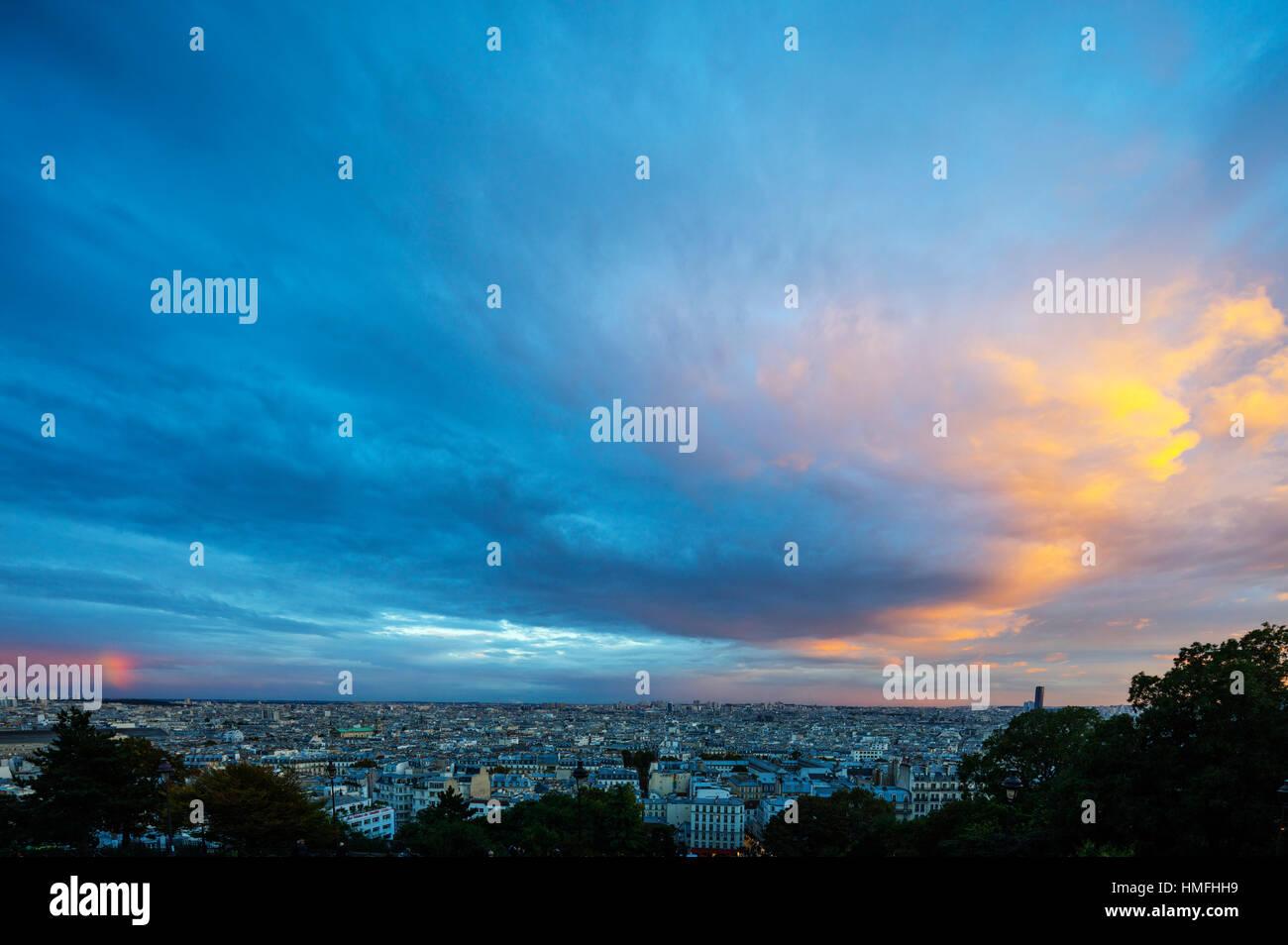 City skyline from Montmartre, Paris, France - Stock Image