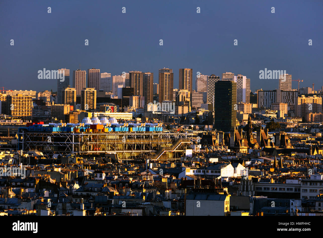 City skyline from Montmartre, Centre Georges Pompidou designed by Renzo Piano and Richard Rogers, Paris, France - Stock Image