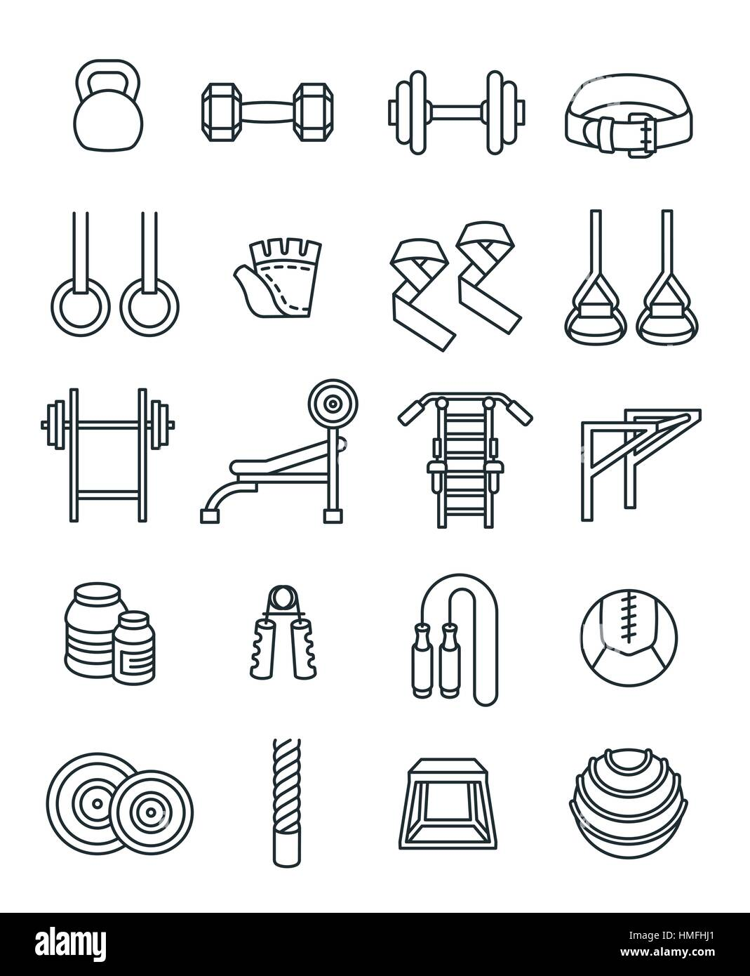 Weightlifting flat thin line vector icons set  Bodybuilding
