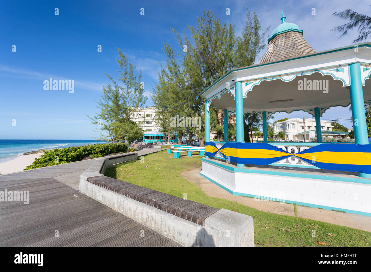 Hastings Bandstand and Beach, Christ Church, Barbados, West Indies, Caribbean, Central America - Stock Image