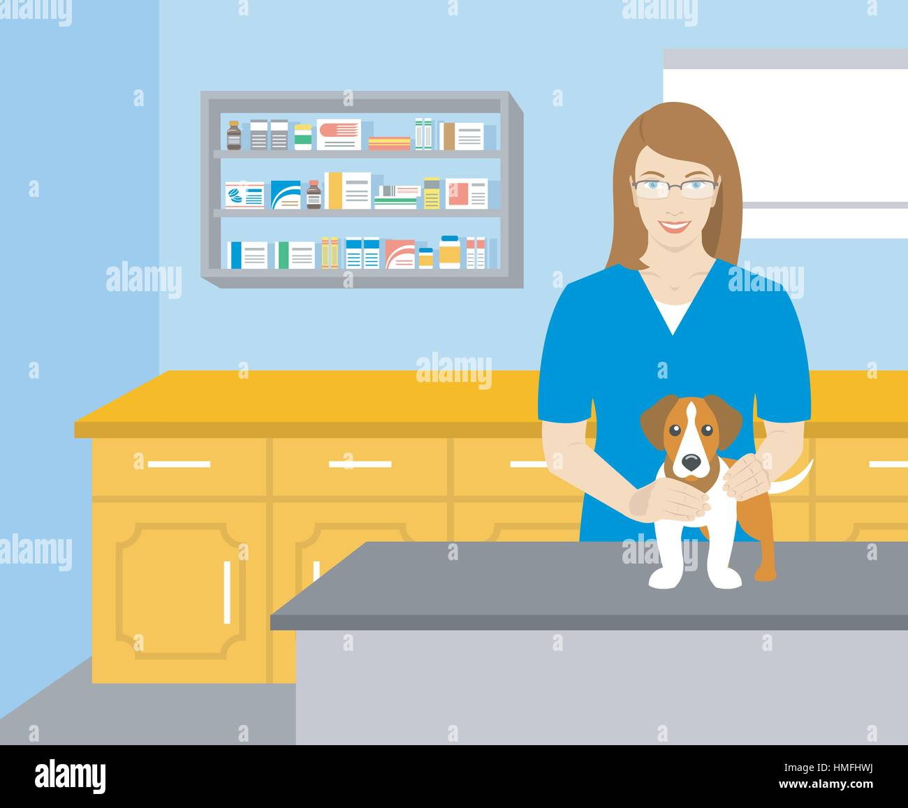 Vector flat illustration of young smiling woman veterinarian holding a dog at the table in veterinary office. Pets - Stock Vector