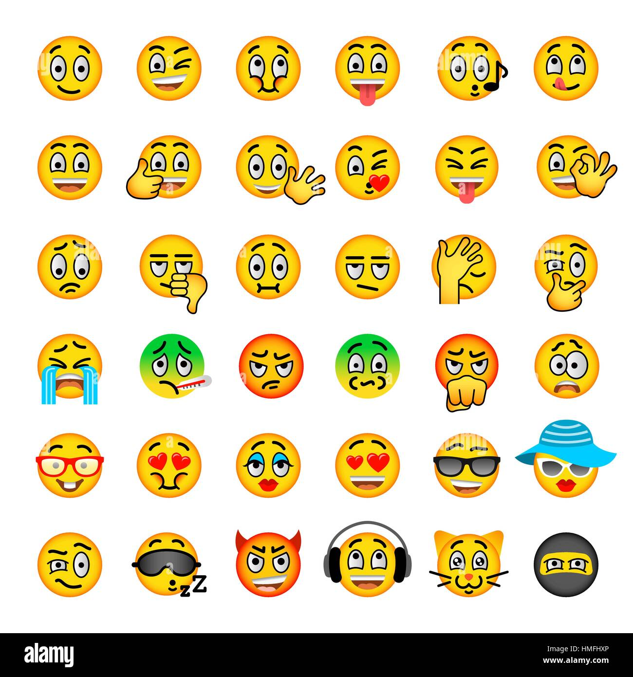 Smiley Face Flat Vector Icons Set Emoji Emoticons Different Facial