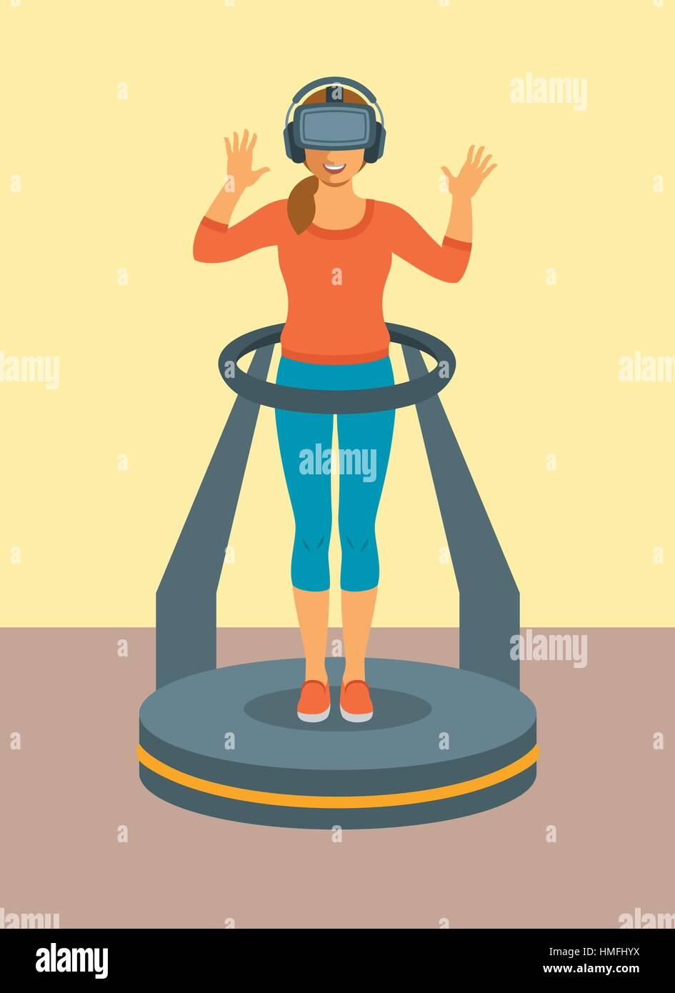 Young woman in virtual reality glasses standing on game controller platform simulator. Flat vector illustration. - Stock Image