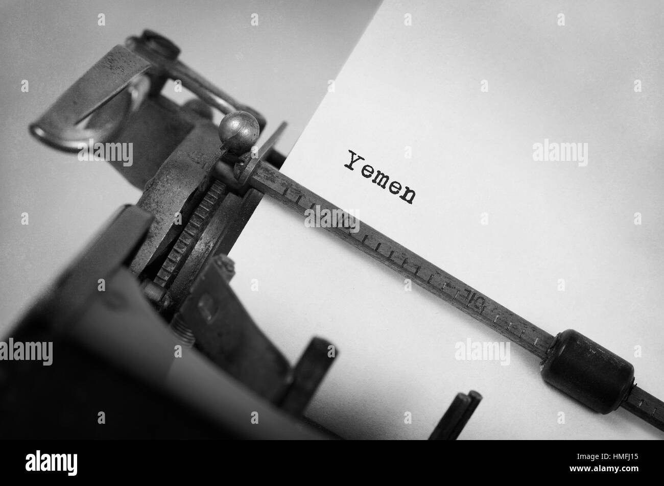 Inscription made by vintage typewriter, country, Yemen - Stock Image
