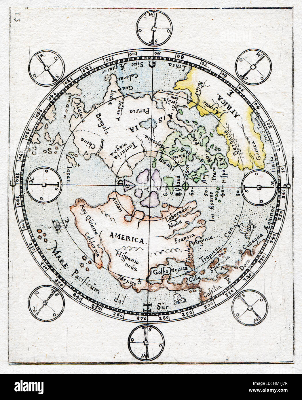 antique old aged map of north pole and artic circle - Stock Image