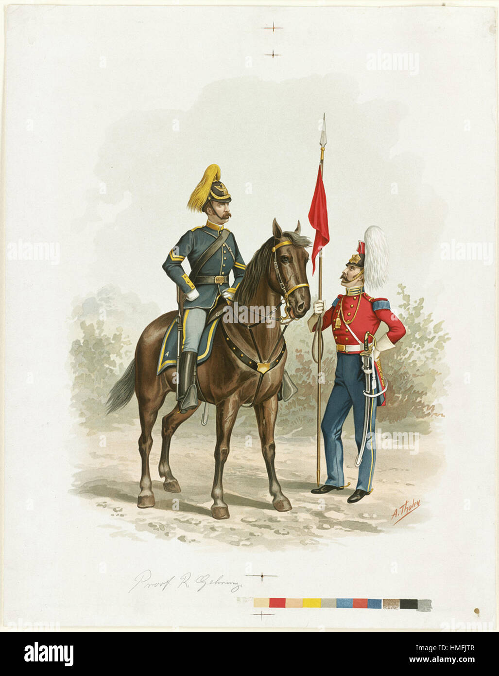 Louis Prang -  Boston Lancers (CoA) 1836-1894 - Stock Image