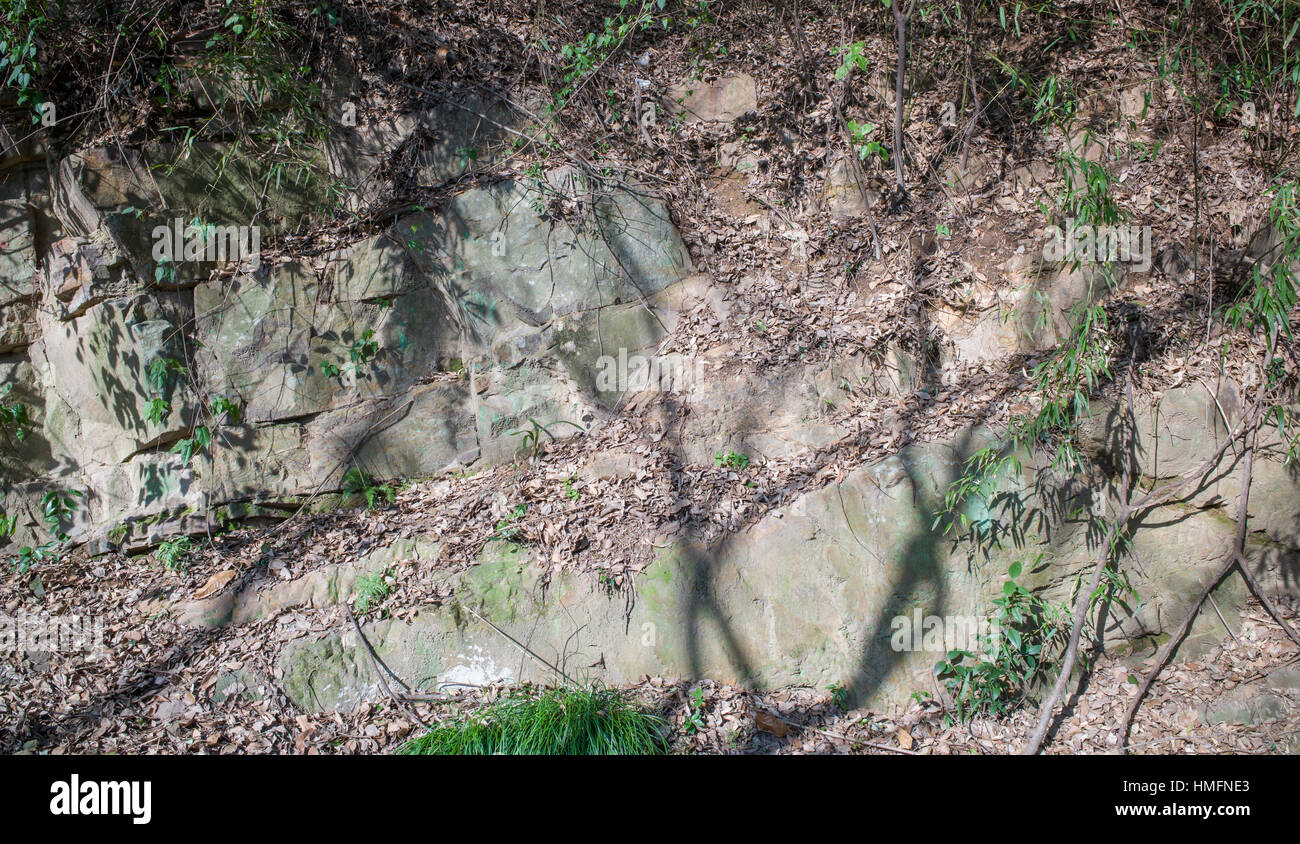 Exposure of sedimentary rock, Suzhou, China Stock Photo