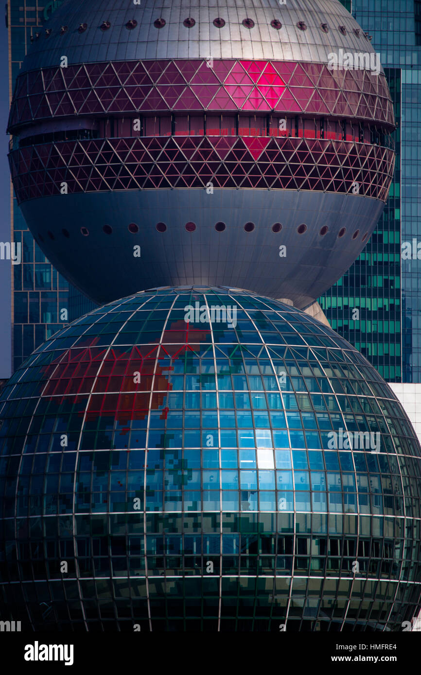 Close up of Oriental Pearl Radio & TV Tower and The Shanghai International convention centre - Stock Image