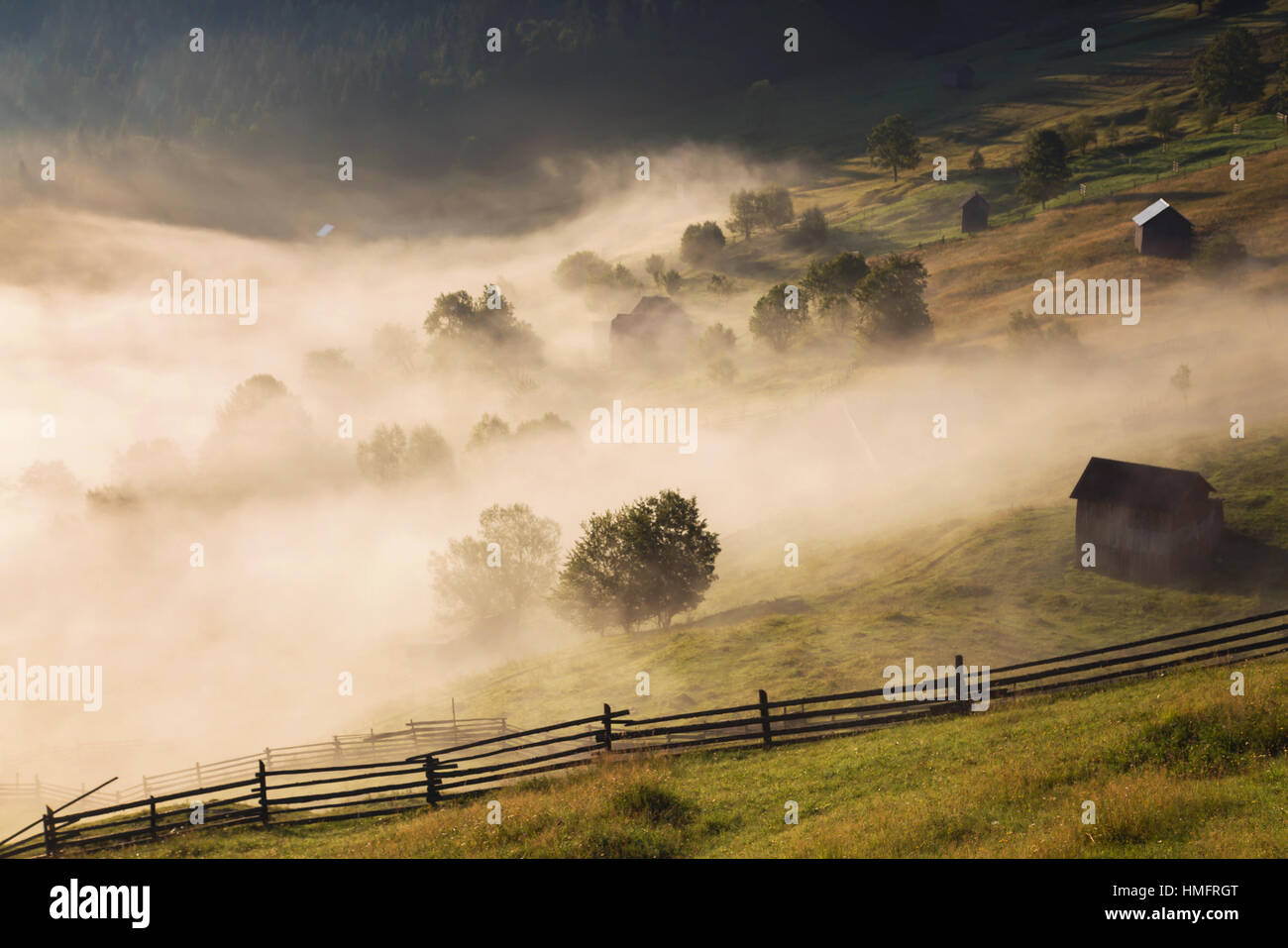 Summer sunrise in Bucovina, Romania - Stock Image