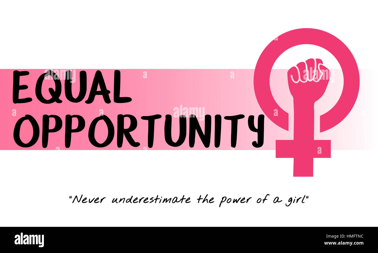 Women Girl Power Feminism Equal Opportunity Concept - Stock Image