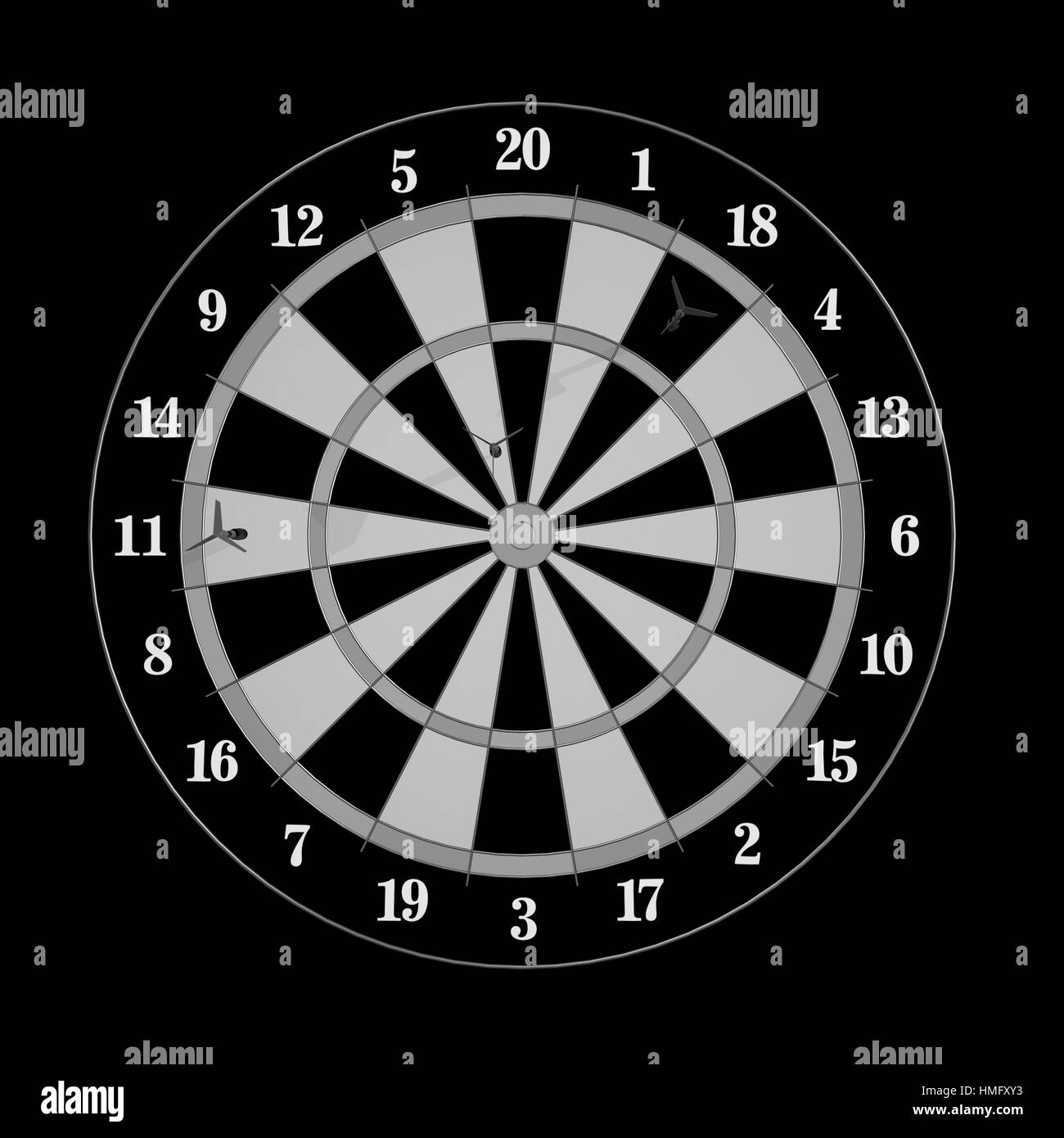 Darts and arrows 3d illustration on black - Stock Image
