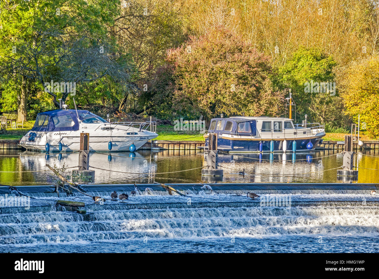 The Weir At Goring On Thames Oxfordshire UK - Stock Image