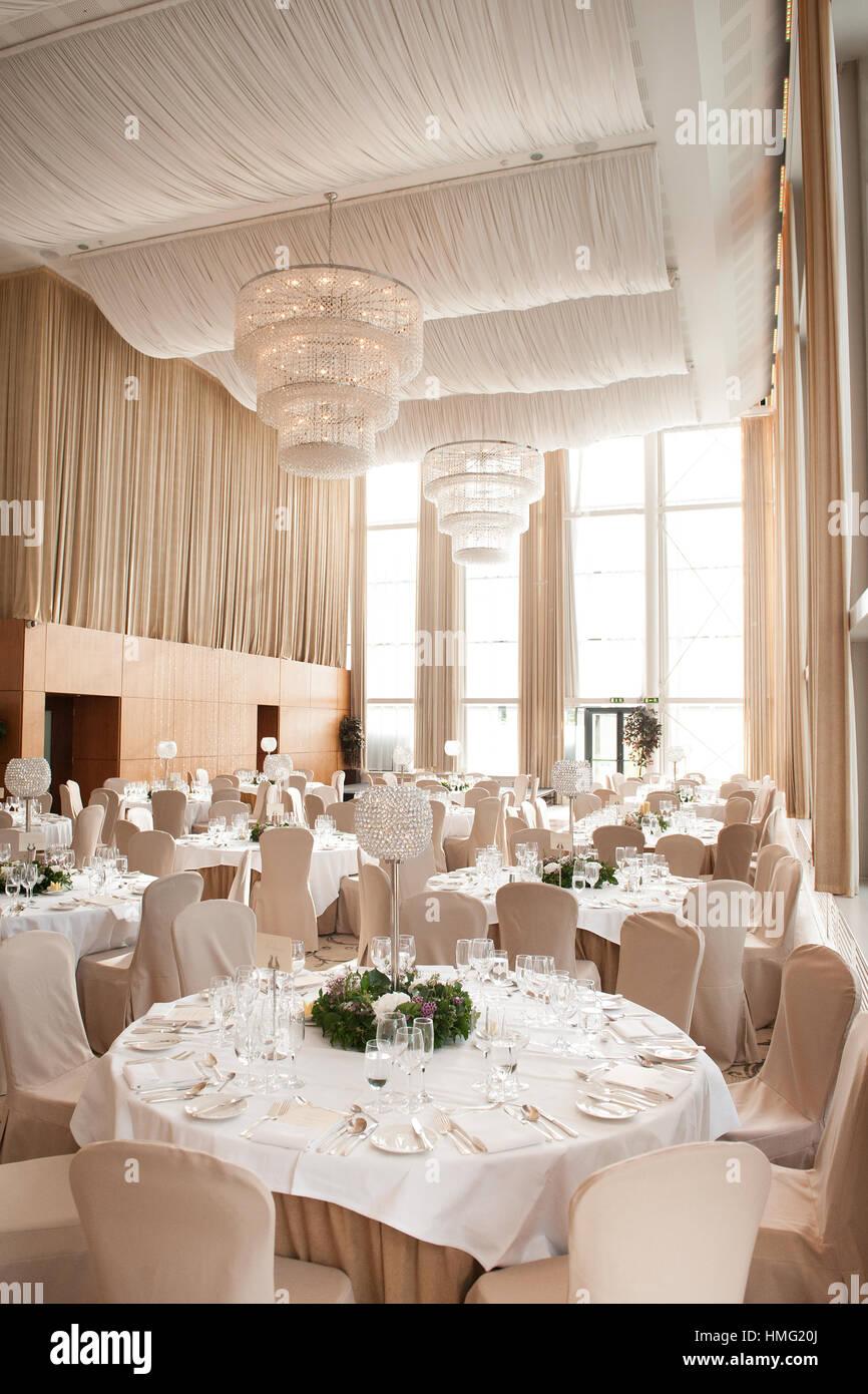 The ballroom at Castlemartyr Resort Hotel, Castlemartyr, Cork, Ireland decorated for a wedding reception Stock Photo