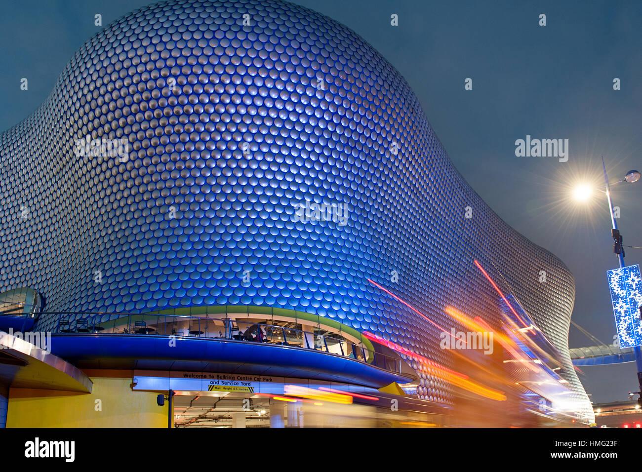 Car light trails at Selfridges Department Store at the Bullring Birmingham, West Midlands, England, United Kingdom Stock Photo