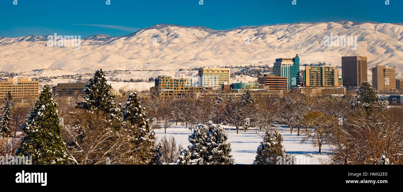 winter city of boise and snow covered foothills boise idaho usa