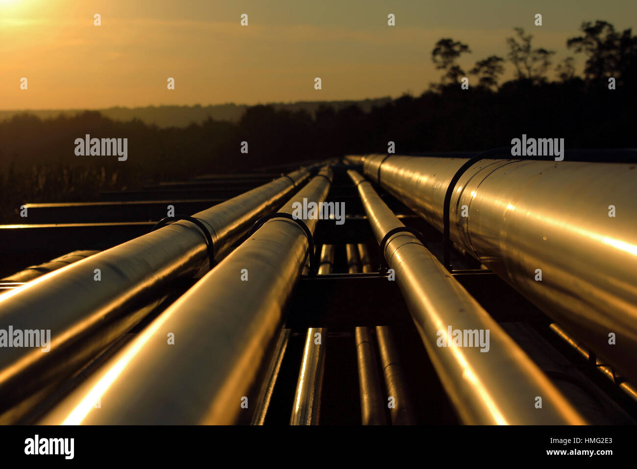 pipeline connection  from crude oil field - Stock Image