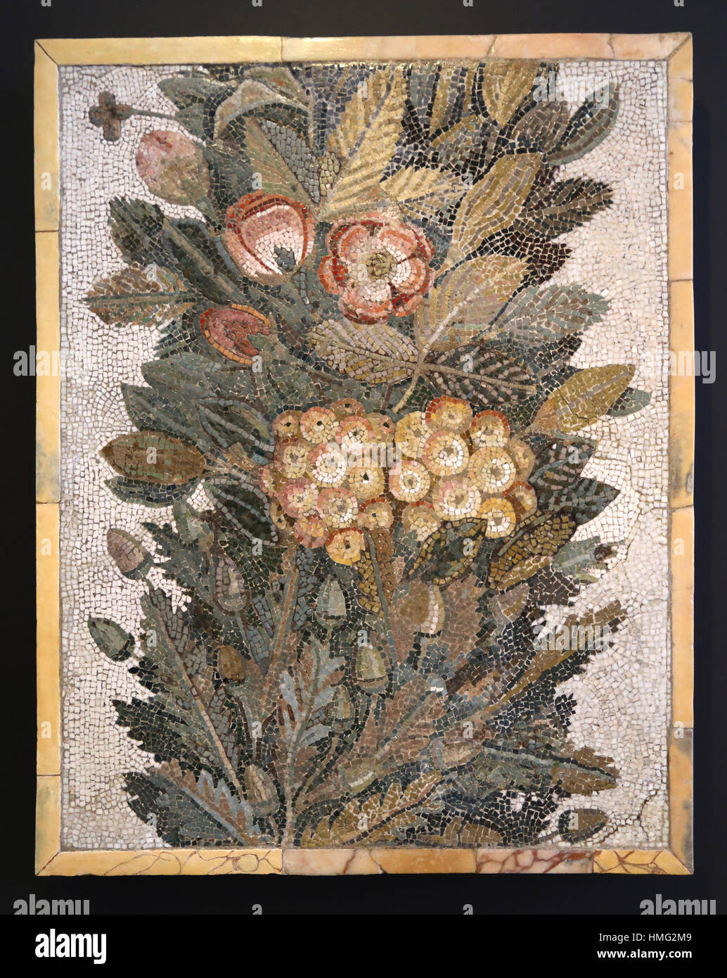 Floral mosaic. Limestone and vitreous paste. 1th century. Italy. National Archaeological Museum, Madrid. Spain. - Stock Image