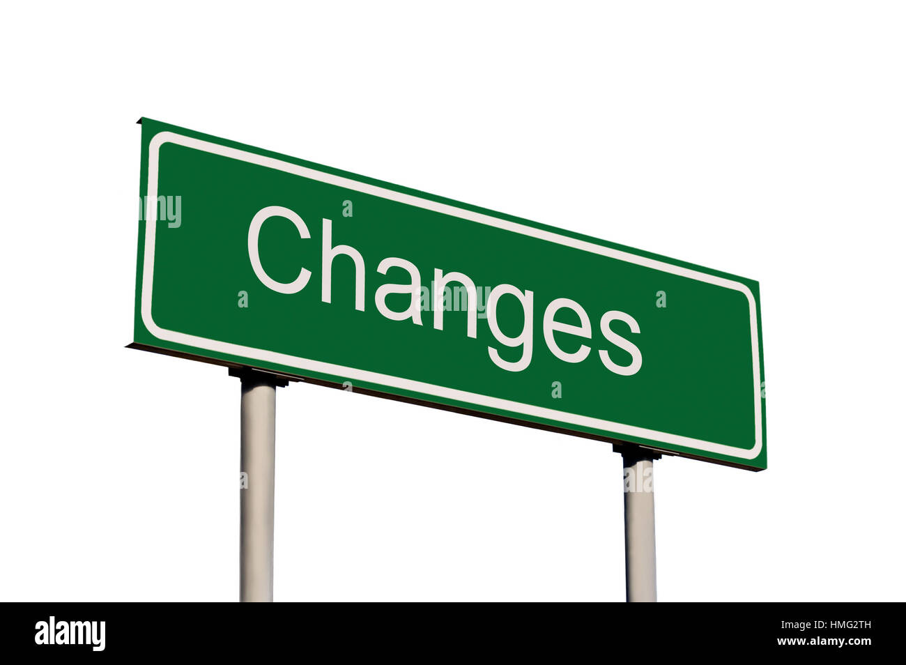 Changes Green Road Sign Text Concept Metaphor Isolated Closeup - Stock Image