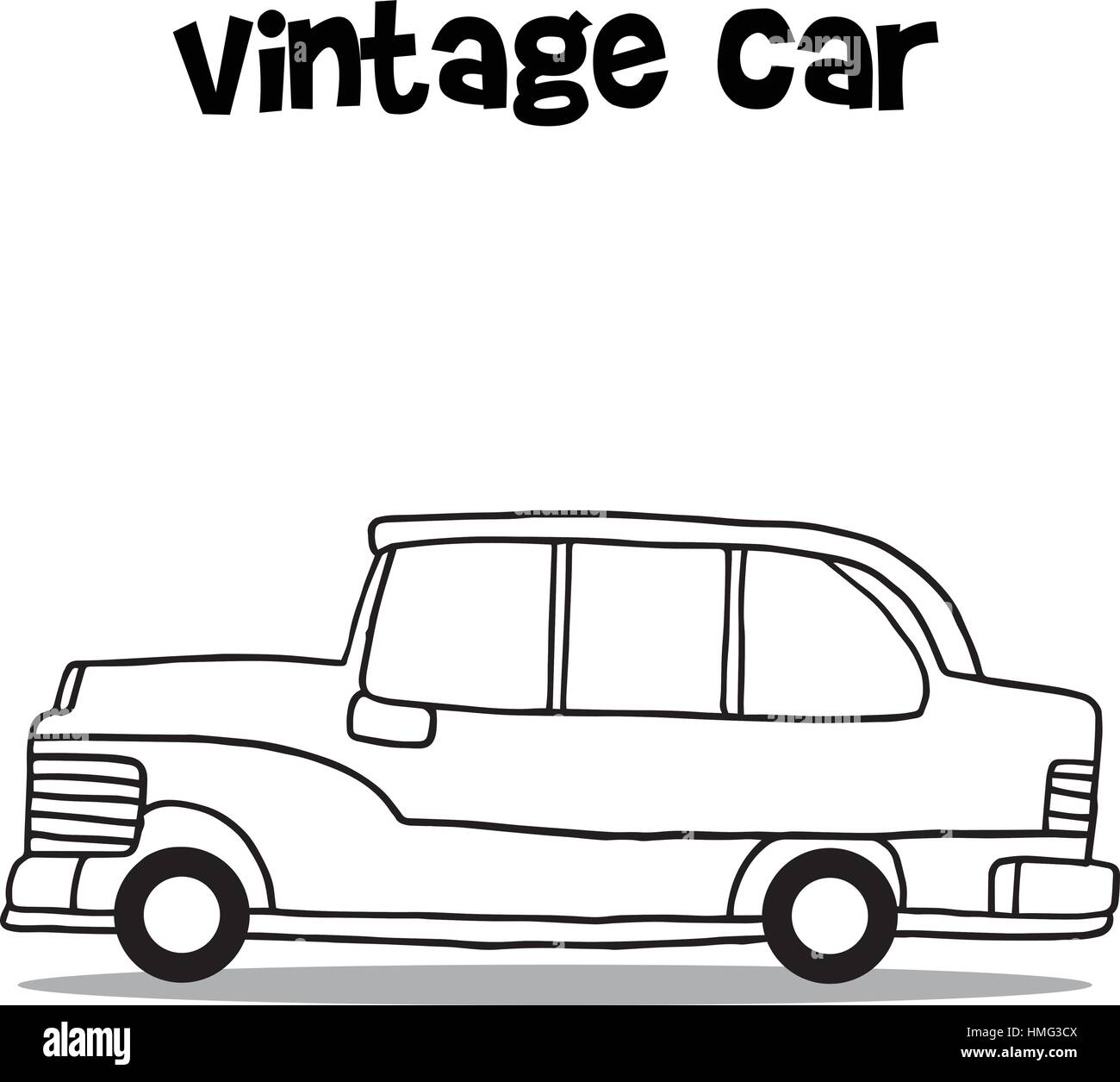 Vintage car with hand draw - Stock Vector