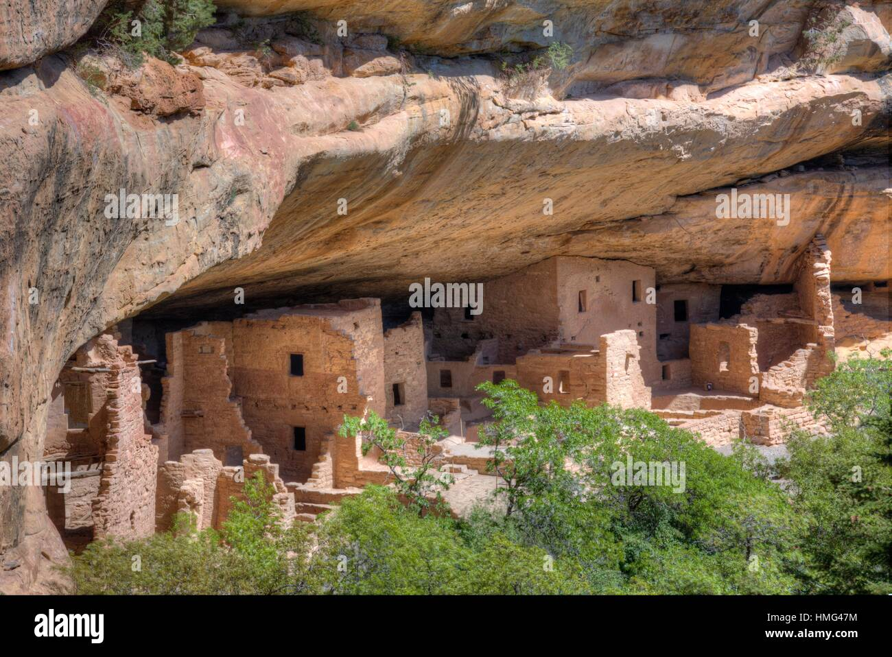 Spruce Tree House, Constructed between 1,211 and 1,278, Mesa Verde National Park, UNESCO World Heritage Site, Colorado, - Stock Image