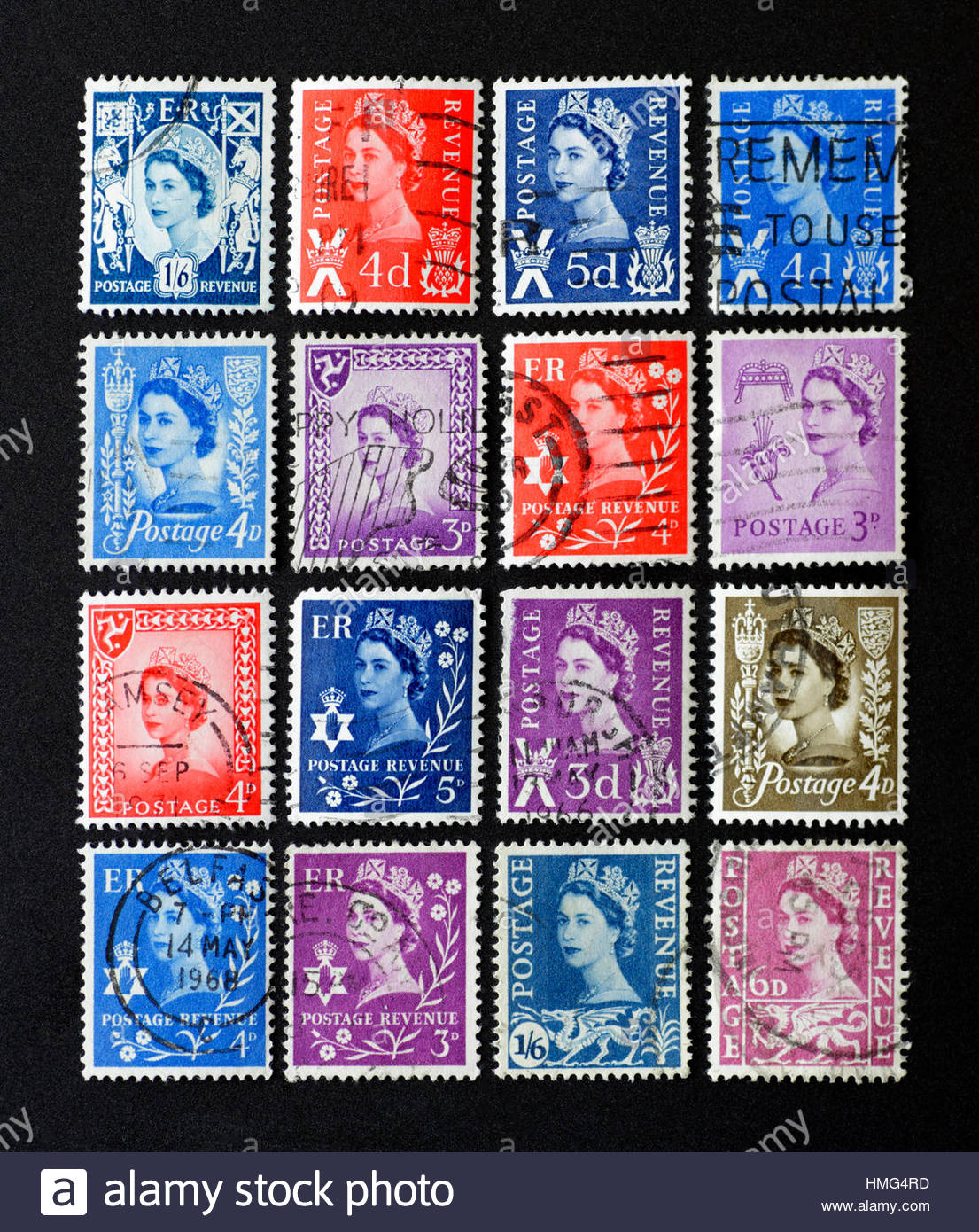 Old collection of used British Wildings Stamps from the 1950s and 1960s - Stock Image