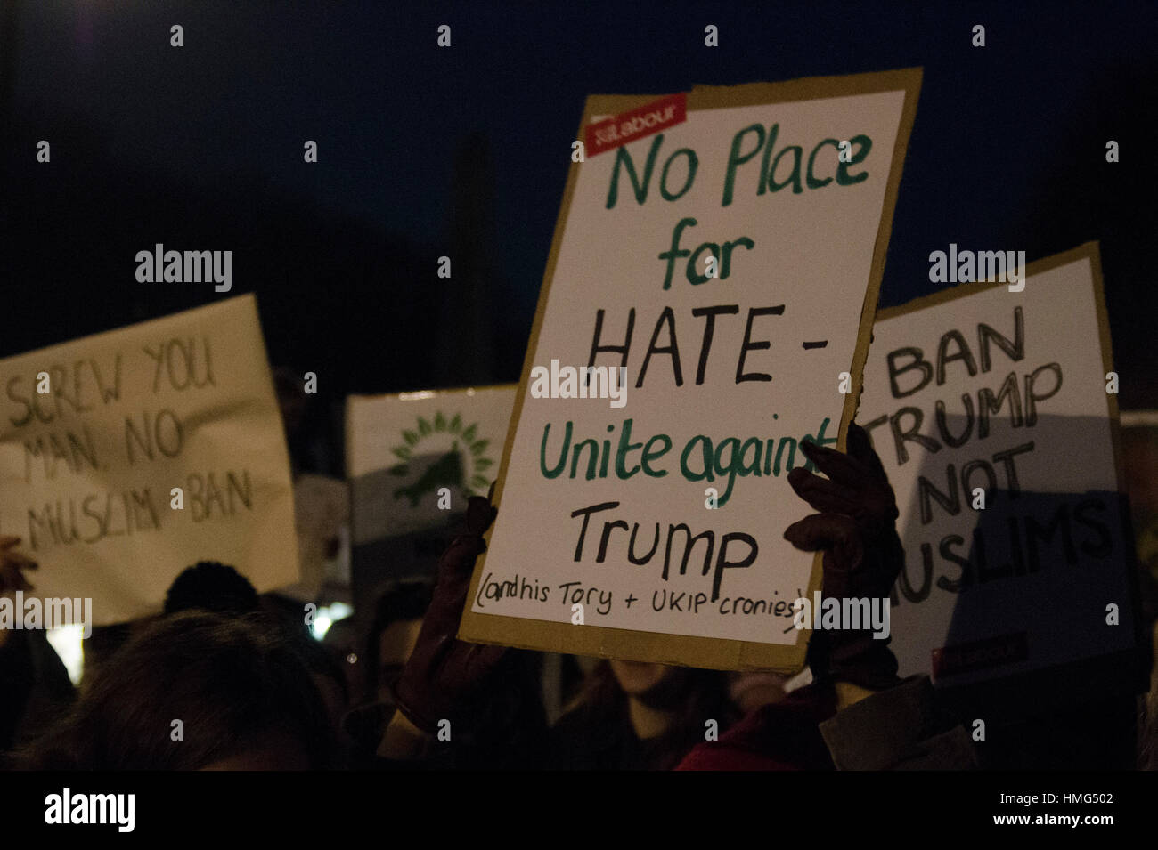 Protest banner at Donald Trump protest - Stock Image