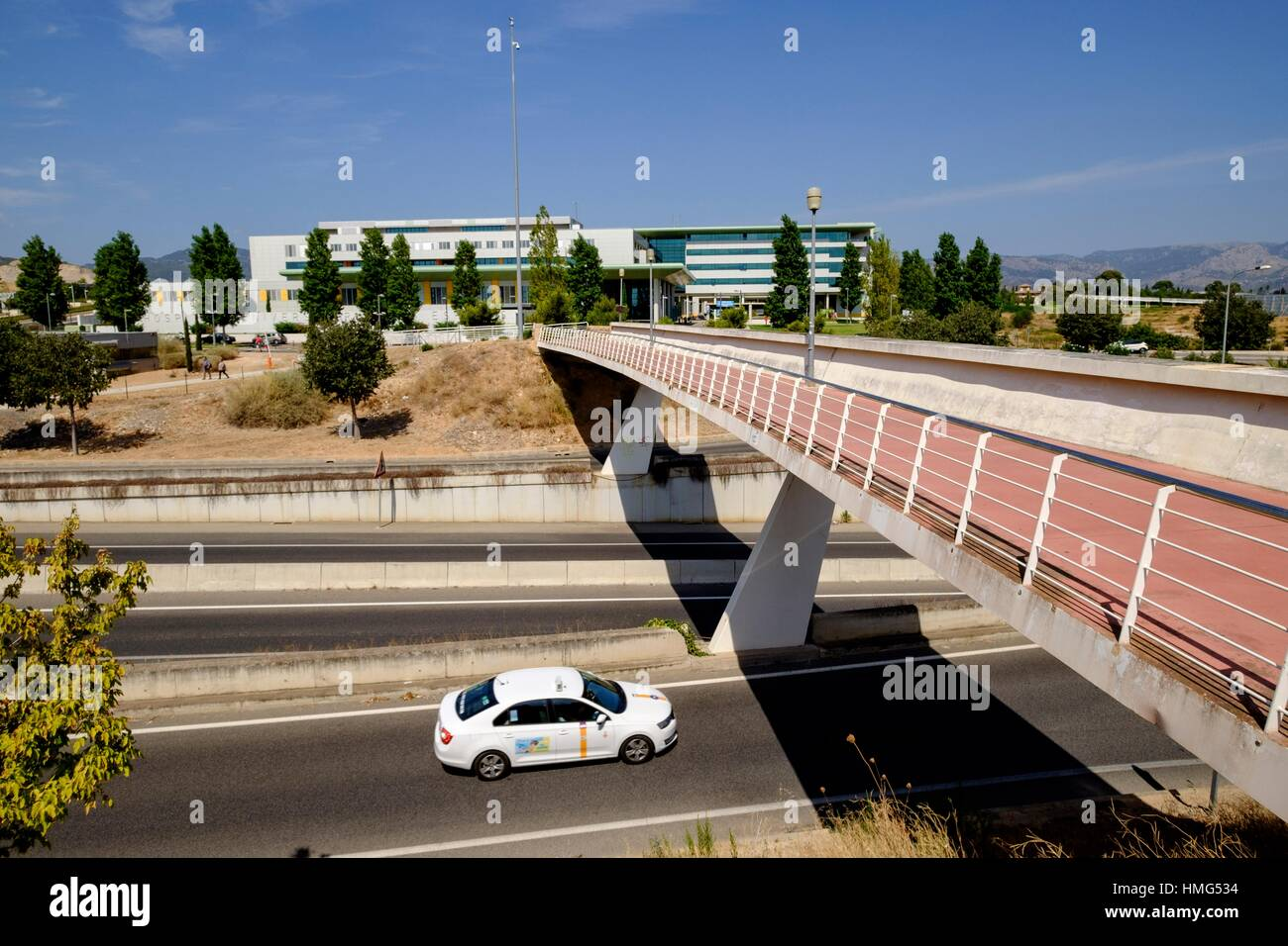 carril para bicicletas, hospital Son Espases, Palma, Majorca, Balearic Islands, Spain - Stock Image