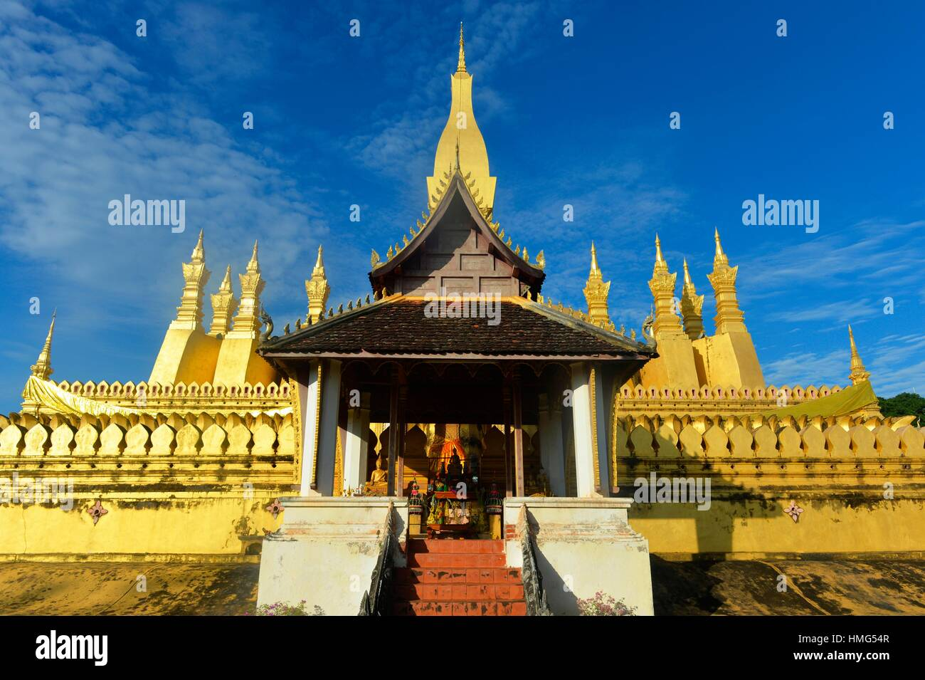Pha That Luang temple in Vientiane, Laos, South East Asia. - Stock Image