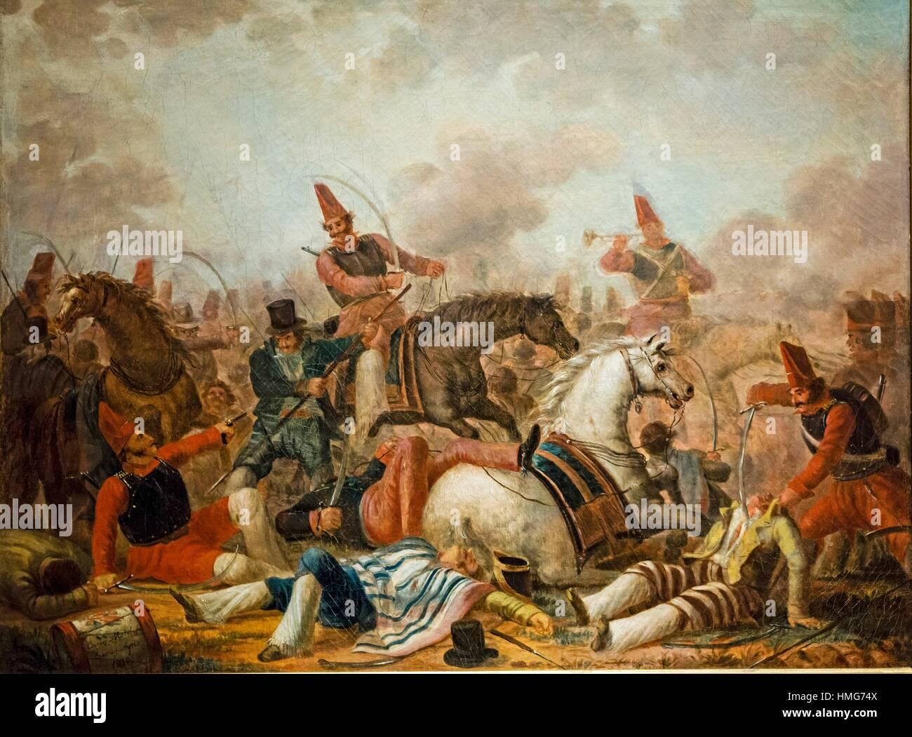 Carlos Morel, Combate de caballeria en la época de Rosas (Cavalry fight in the age of Rosas), 1839, oil on - Stock Image