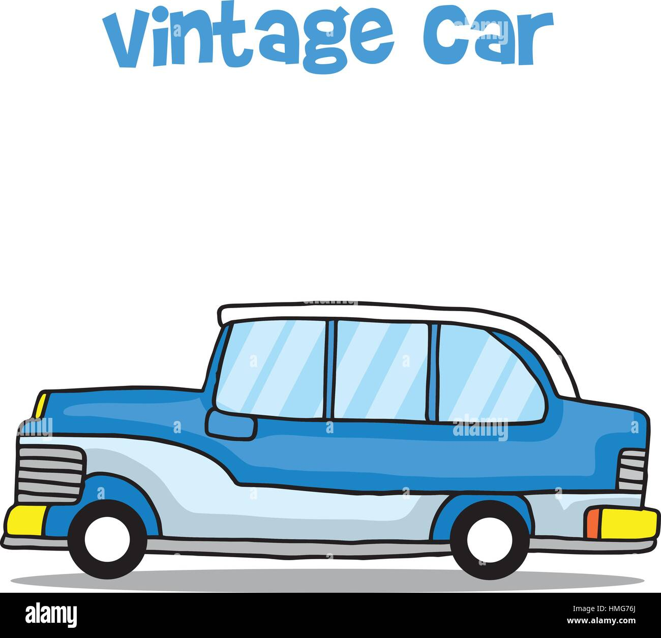 Vintage car cartoon education for kids - Stock Vector