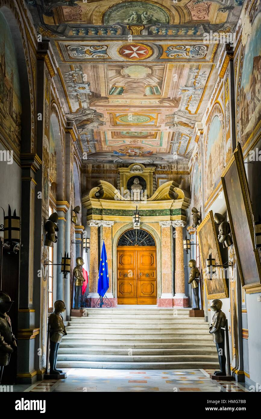 State Apartments: entrance to the Council Chamber, Grand Master´s Palace, Valletta, Malta - Stock Image