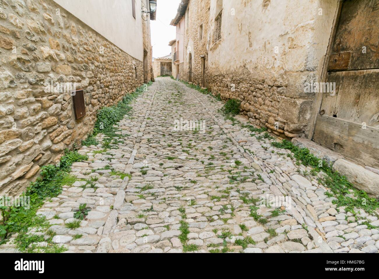 Mirambel is one of the most prettiest towns in Spain Maestrazgo mountains Teruel Aragon - Stock Image