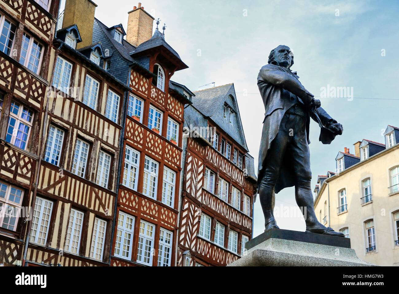 Leperdit statue, Champ-Jacquet square, Rennes, Bretagne, Brittany, France - Stock Image
