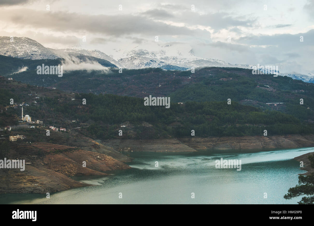 Dim Cay storage pond in the mountain area of Alanya, Southern Turkey - Stock Image