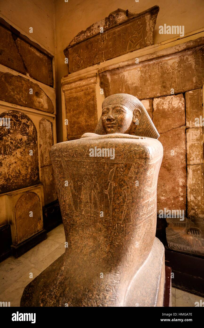 Granite cube of Hor, a long serving secretary to rulers of the late 22nd and early 23rd dynasty. The statue was - Stock Image