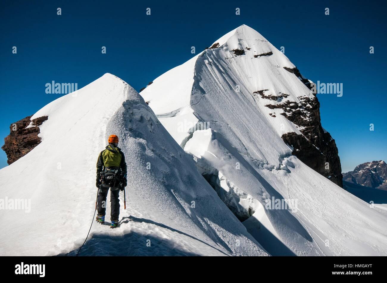 Climber arriving Pequeño Alpamayo summit. Cordillera Real range, Andes. Bolivia. South America - Stock Image