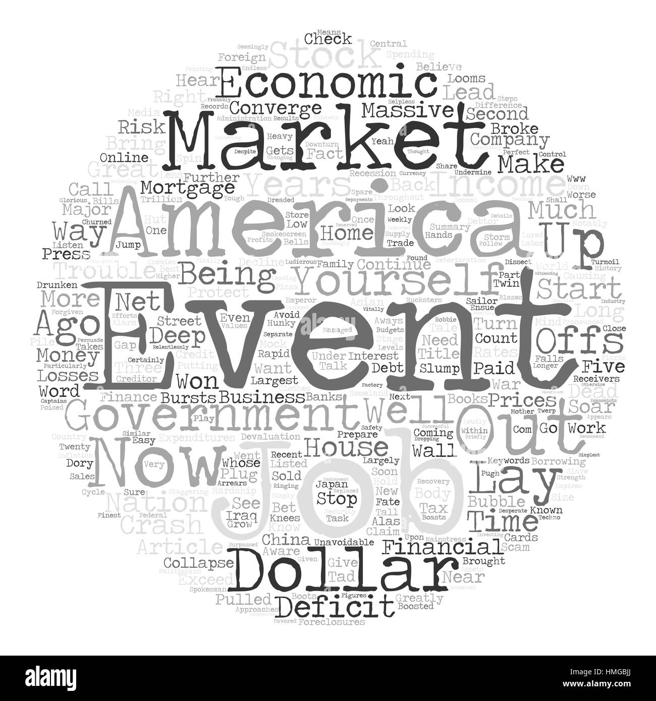 Economic Hardship Looms as Unavoidable Events Converge text background word cloud concept - Stock Image