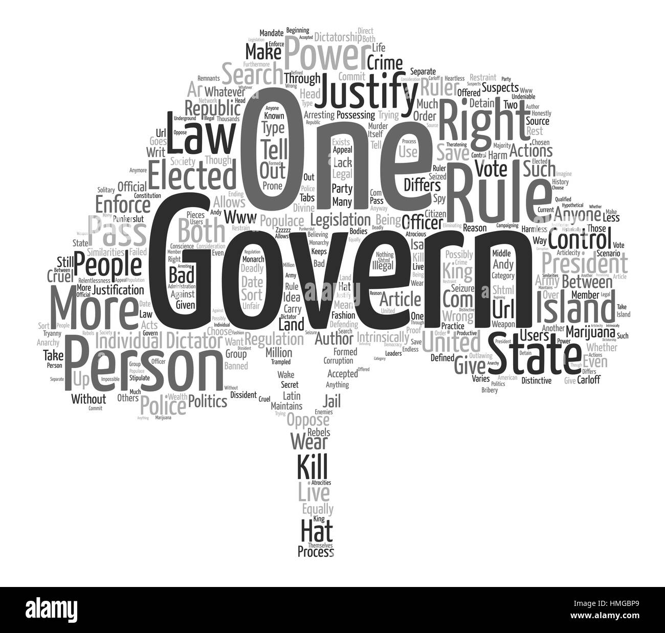 anarchy law order and authority text background word cloud concept Stock Vector