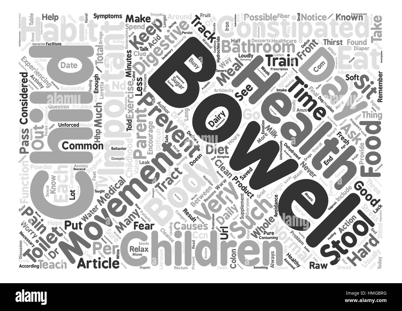 Children Get Constipated Too text background word cloud concept - Stock Image