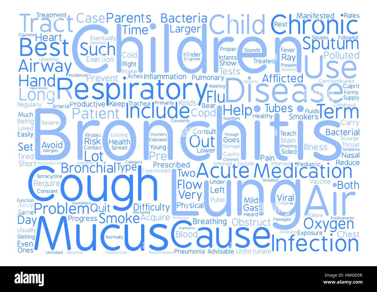 bronchitis in child Word Cloud Concept Text Background - Stock Image