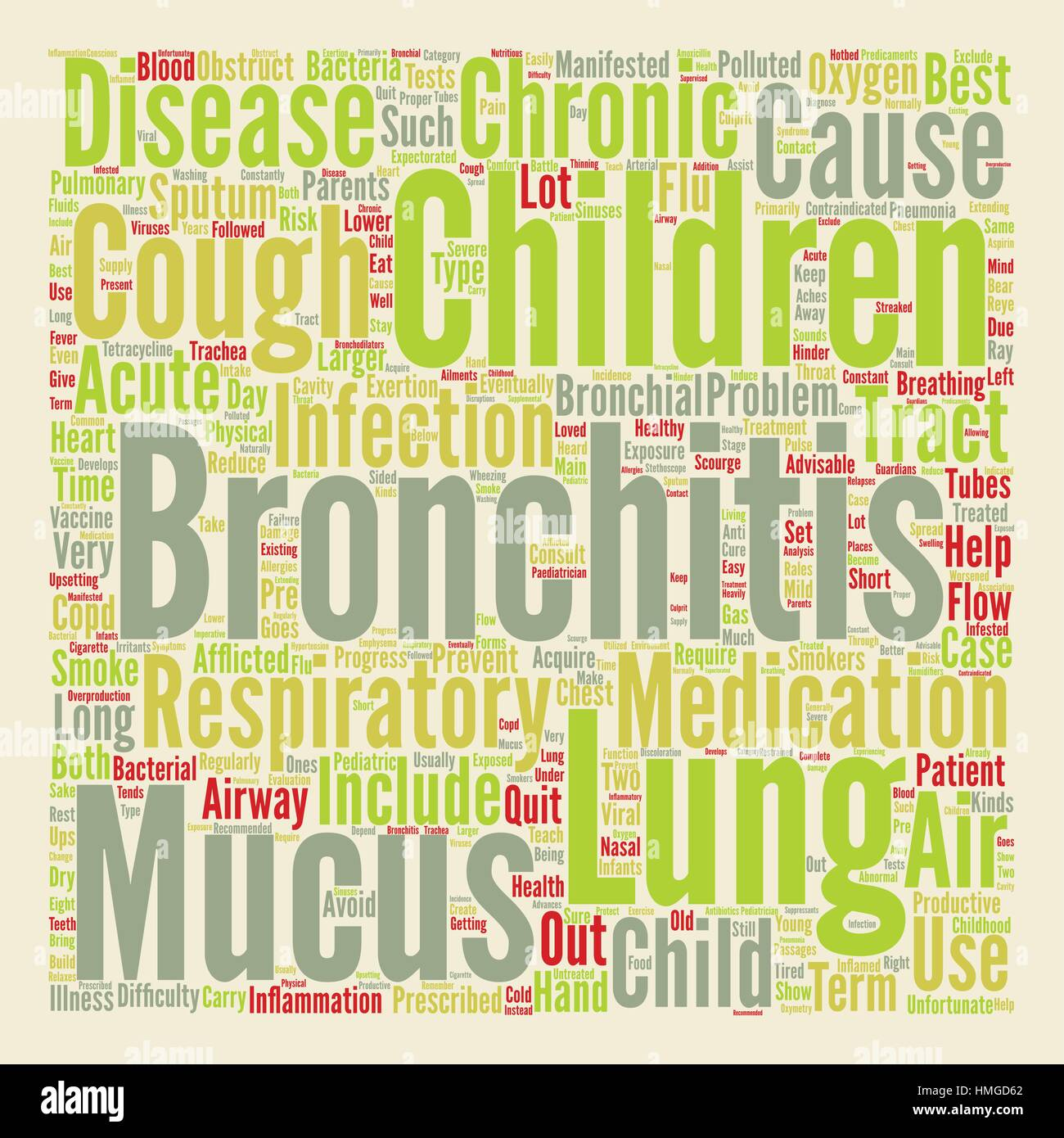 bronchitis in child text background wordcloud concept - Stock Image