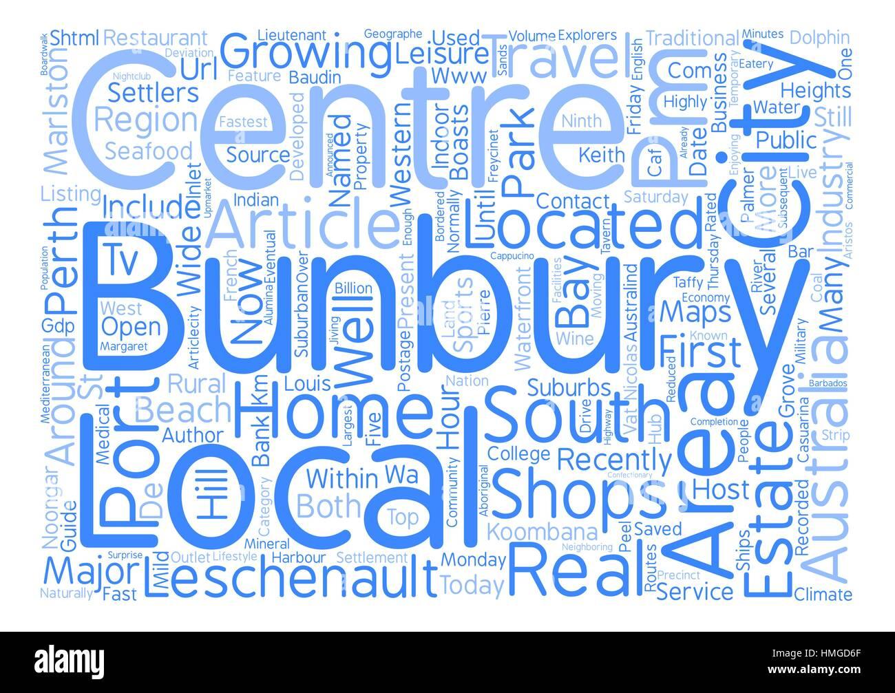 Bunbury Western Australia text background word cloud concept - Stock Image